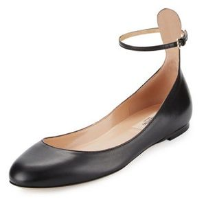 Valentino Tango Leather Ankle-Wrap Flats 10